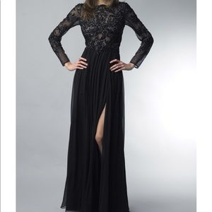 NEW Basix Black Label black beaded gown size 4